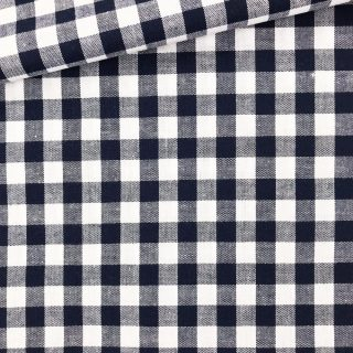 Baumwollstoff - Dunkelblau/ weiß 9 mm kariert