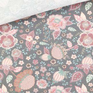 French Terry - dünner Sweatshirtstoff - Floral Silbergrau