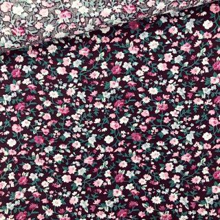 Popeline - Mini Blumen Dunkle Holunderbeere