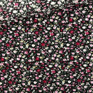 Popeline - Mini Blumen Schwarz