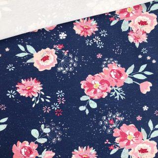 French Terry - dünner Sweatshirtstoff - Dunkles Jeansblau Flowersplash