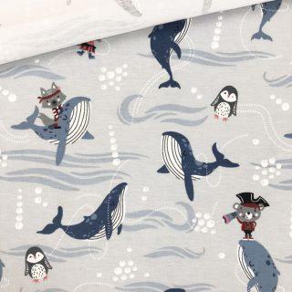 Single Jersey - Whale Friends Zartgrau