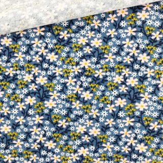 Single Jersey - Blüten Smoky Jeansblau