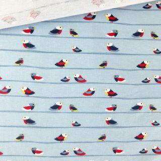 Single Jersey - Hellblau Vögel gestreift