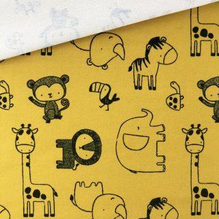 French Terry - dünner Sweatshirtstoff - Zoo Senfgelb