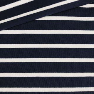 Leichter Baumwoll-Feinstrick Dunkelblau/ Weiß gestreift