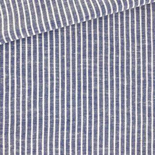 Leichter Viskose-Leinenmix - Jeansblau gestreift
