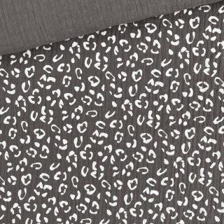 Musselin - Dusty Grey Leo/Weiß