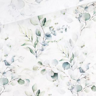 Popeline - Aquarell-Eukalyptus Cremeweiß