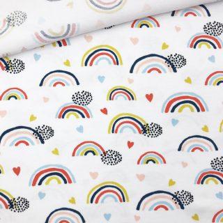 Single Jersey - Regenbogen Weiß