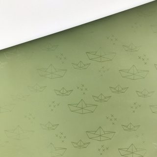 Regenjackensstoff - Boote Khaki Grün