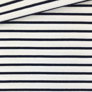 French Terry - dünner Sweatshirtstoff - Cremeweiß/Dunkelblau gestreift