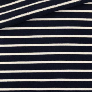 French Terry - dünner Sweatshirtstoff - Dunkelblau/Cremeweiß gestreift
