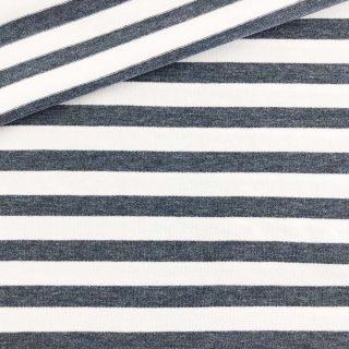 Single Jersey - Petrolblau Melange/Weiß 10 mm gestreift