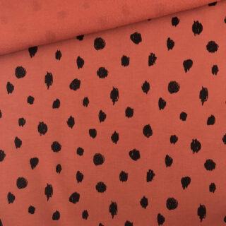 French Terry - leichter Bio Kuschelsweat - Doodled Rost Orange