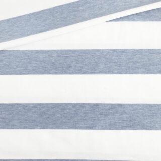 Single Jersey - Zartblau Melange/Weiß 50 mm gestreift