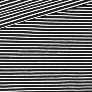 Single Jersey - Schwarz mit 2 mm weißen Streifen