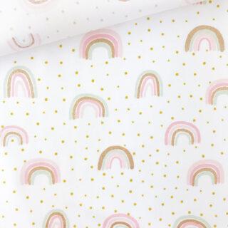 Popeline - Glitzer Regenbogen Weiß
