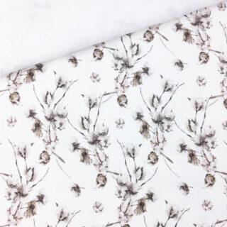 Popeline - Baumwollpflanze Cremeweiß