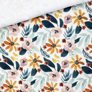 Single Jersey - Sunrise Flowers Staubweiß